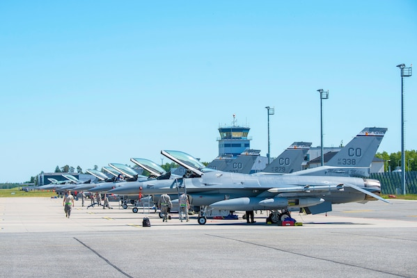 Ten F-16 Fighting Falcon aircraft from the 120th Fighter Squadron, 140th Wing, Colorado Air National Guard, are being inspected by the maintenance crew  at Amari Air Base, Estonia, in support of Saber Strike 18, June 1, 2018.  Saber Strike 18 is the eighth iteration of the long-standing U.S. Army Europe-led cooperative training exercise designed to enhance interoperability among allies and regional partners. This year's exercise will take place June 3-15, focusing on improving land and air operational capabilities with an additional key objective to train with NATO's enhanced Forward Presence.