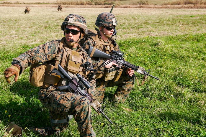 1st Lt. Patrick Nugent during a field exercise with Battalion Landing Team 1/5 at the Ie Shima Training Facility, Okinawa, Japan, Feb. 12, 2016.