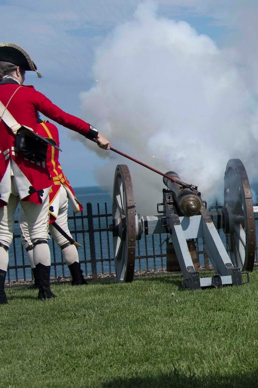 Re-enactors fire a cannon during a demonstration at Fort Niagara, New York, May 31, 2018.  Civilian leaders from the Greater Shreveport/Bossier City area visited the national historic site as part of a Civic Leader Tour hosted by the Niagara Falls Air Reserve Station.  These tours allow leaders from other areas of the country to learn more about the mission of other military units and their historical traditions.  During this tour, the Louisiana contingent learned about the capabilities and mission of the 914th Air Refueling Wing, the 107th Attack Wing, the Niagara Falls Military Entrance Processing Station and the U.S. Coast Guard Buffalo Sector.  (U.S. Air Force photo by Master Sgt. Ted Daigle/released)