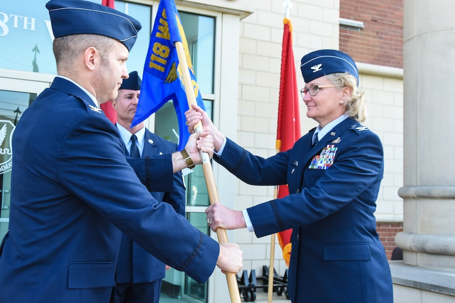 Col. Lawana Nelson receives the guideon at the change of command ceremony for the 118th Mission Support Group at the 118th Wing in Nashville, Tennessee June 2, 2018.