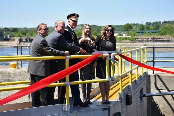 Col. Thomas D. Asbery, commander, USACE, New York District, along with elected official representatives cut the ribbon to commemorate the completed maintenance work for Troy Lock and Dam.