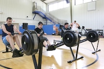 Participants of the May 21 interval training class at the Arnold Air Force Base Fitness Center utilize rowing machines as part of their workout. The class is among several classes and activities offered by the Fitness Center. (U.S. Air Force photo/Bradley Hicks)