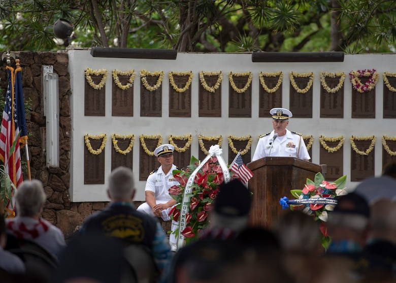 JOINT BASE PEARL HARBOR-HICKAM, Hawaii (May 28, 2018) – Capt. Anthony Carullo, Commander, Submarine Force, U.S. Pacific Fleet chief of staff, addresses guests during the Memorial Day ceremony at the Parche Park and Submarine Memorial in Joint Base Pearl Harbor-Hickam, May 28. (U.S. Navy photo by Mass Communication Specialist 2nd Class Michael H. Lee)