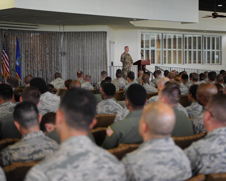U.S. Army Command Sgt. Maj. John Wayne Troxell, senior enlisted advisor to the chairman of the Joint Chiefs of Staff, speaks with Airmen during an enlisted all-call at Joint Base Pearl Harbor-Hickam, Hawaii, May 29, 2018.  Troxell is the designated senior noncommissioned officer in the U.S. armed forces and advises the Chairman and the Secretary of Defense on all matters involving joint and combined total force integration, utilization, health of the force, and joint development for enlisted personnel. (U.S. Air Force photo by Master Sgt. Taylor Worley)