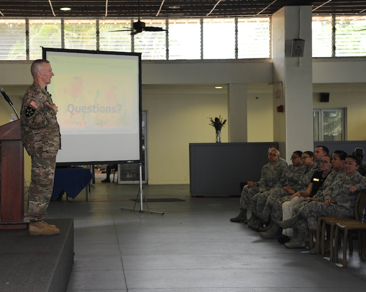 U.S. Army Command Sgt. Maj. John Wayne Troxell, senior enlisted advisor to the chairman of the Joint Chiefs of Staff, takes questions from Airmen during an enlisted all-call at Joint Base Pearl Harbor-Hickam, Hawaii, May 29, 2018. Troxell spent time speaking to Airmen about building relationships with other services and our international partners, total force fitness and the importance of the enlisted force. (U.S. Air Force photo by Master Sgt. Taylor Worley)
