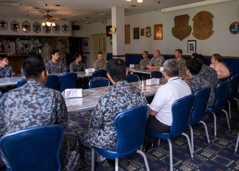 A panel composed of leadership primarily from the 374th Maintenance Group answer questions fielded by Koku-Jieitai Airmen