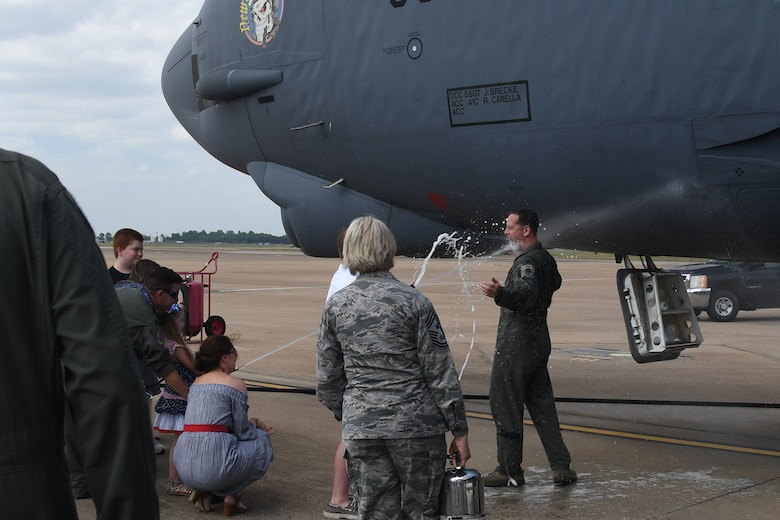 Col. Christopher Anderson, 307th Bomb Wing vice commander, and Maj. Matthew Daly, a flight scheduler assigned to the 11th Bomb Squadron, took their final flight on a B-52 Stratofortress out of Barksdale Air Force Base, Louisiana, June 1,2018. (U.S. Air Force photo by Master Sgt. Dachelle Melville/Released)