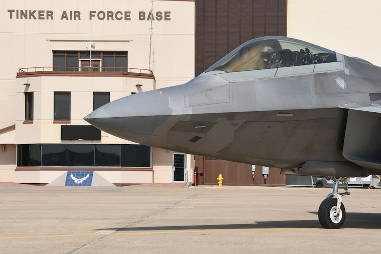 A F-22A Raptor is shown during start-up in front of the Base Operations section on the Tinker Air Force Base flight line Sept. 13, 2017, Tinker Air Force Base, Oklahoma.