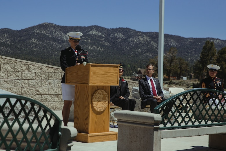 Capt. Karen Holliday, director, Communication Strategy and Operations, Headquarters Battalion, Marine Corps Air Ground Combat Center, Twentynine Palms, Calif., speaks during a Memorial Day ceremony held in Big Bear Lake, Calif., May 28, 2018. The ceremony was hosted by the American Legion and Marine Corps League and presented multiple guest speakers with backgrounds in the military. (U.S. Marine Corps photo by Lance Cpl. Isaac Cantrell)