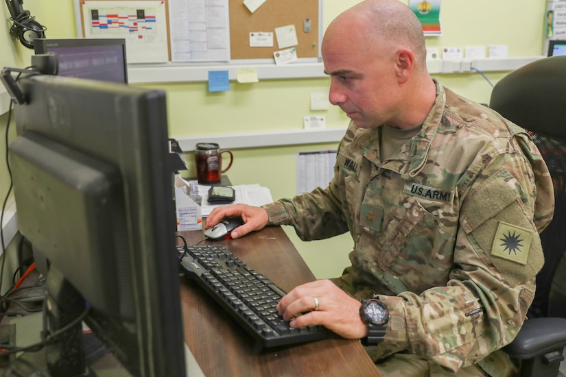 Checking email at Kandahar Airfield, Afghanistan