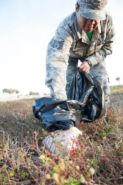 Reserve Citizen Airmen from the 920th Mission Support Group Staff recently staked their claim to a two-mile plot of land outside Patrick Air Force Base, Florida in Cocoa Beach, to became caretakers through the Adopt-a-Highway program. After their sign was erected during the April 2018 drill training weekend, seven MSG Staff personnel went to work clearing trash and debris along their beachside plot. Their plan is to head out every three months to tidy up, as a team-building event and morale builder. (U.S. Air Force photo Staff Sgt. Jared Trimarchi)