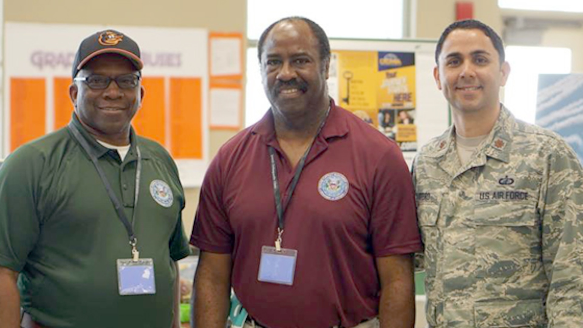 On April 28, Willie Anderson, Michael Abernathy and Air Force Maj. Alvin Otero, volunteered to talk to middle and high school students during the STEM Revolution held at Evans High School in Orlando. The three volunteers are a part of the Defense Contract Management Agency Lockheed Martin Orlando. (Photo taken by Michael Felix)