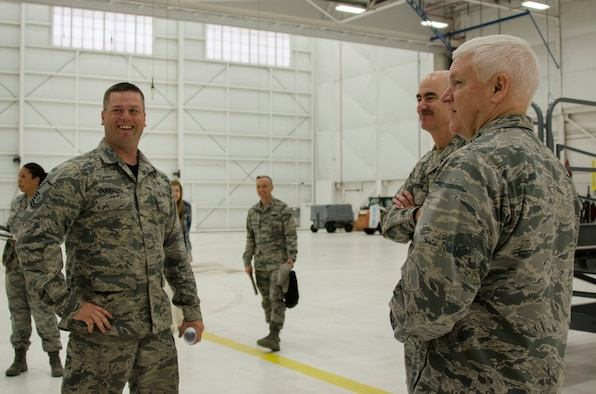 An Airmen instructs Lt. Gen. L. Scott Rice, the director of the Air National Guard, with proper Fuel Cell procedures during a distinguished visitor tour at the 128th Air Refueling Wing, Wisconsin Air National Guard, June 3, 2018.