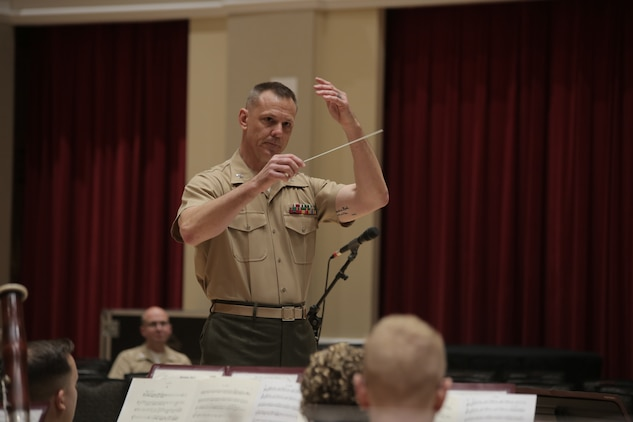 On June 5, 2018 Capt. Bryan Sherlock rehearsed the Marine Band in the John Philip Sousa Band Hall at the Marine Barracks Annex in Washington, D.C., for his first concert as Assistant Director. (U.S. Marine Corps photo by Master Sgt. Kristin duBois/released)