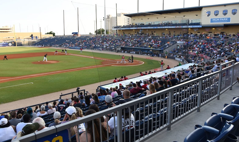 Keesler Air Force Base families attend the Biloxi Shuckers Minor League Baseball team's military appreciation night at MGM Park in Biloxi, Mississippi, June 2, 2018. The Shuckers recognized and honored service members and their families for the dedication, commitment and sacrifices they make for the nation. (U.S. Air Force photo by Kemberly Groue)