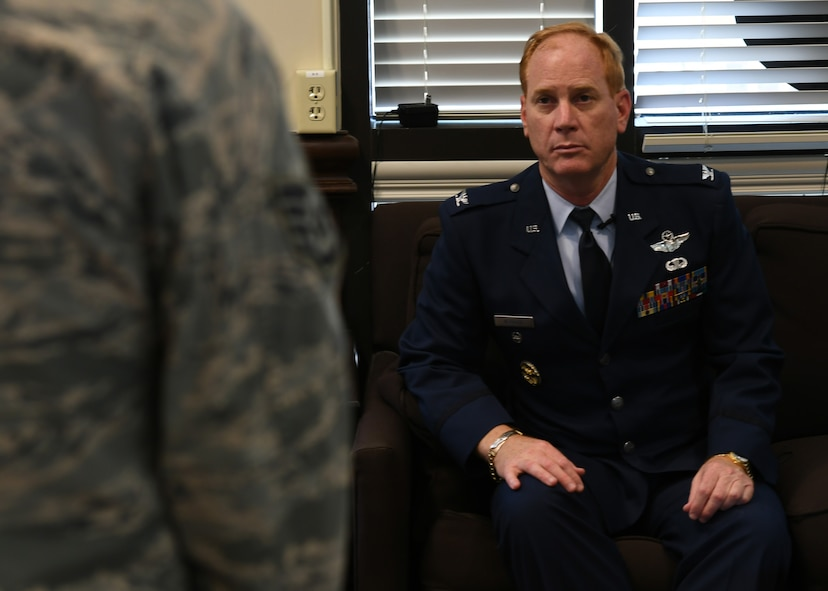 Col. James Kellogg, Jr., 94th Airlift Wing vice commander, answers questions during an interview prior to his retirement ceremony at Dobbins Air Reserve Base, Ga, June 2, 2018. The vice commander retired from the Air Force after 22 years in the reserve and 8 years in active duty. (U.S. Air Force photo by Staff Sgt. Miles Wilson)