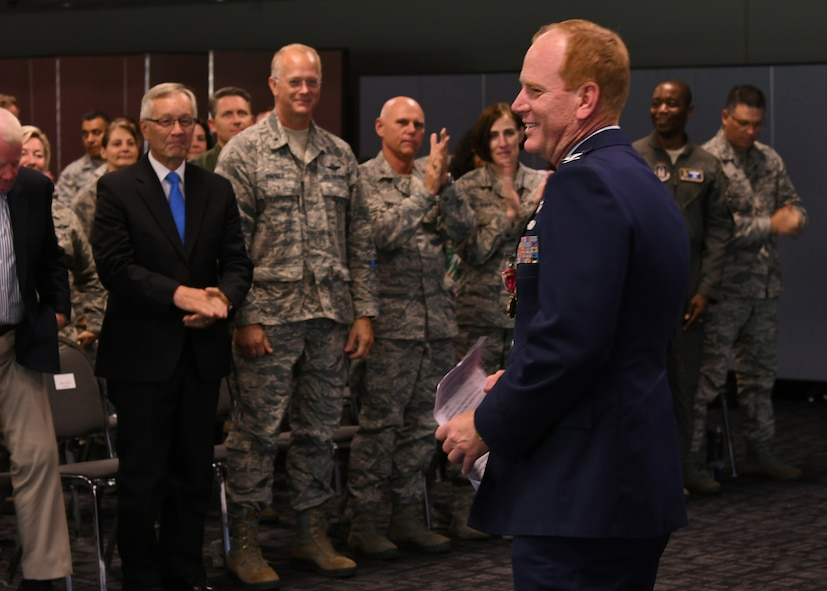 Col. James Kellogg, Jr., 94th Airlift Wing vice commander, stands during his retirement ceremony at Dobbins Air Reserve Base, Ga, June 2, 2018. The newly retired vice commander gave a brief speech at the end of his ceremony, marking the end of a 30-year career with the Air Force. (U.S. Air Force photo by Staff Sgt. Miles Wilson)