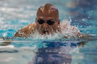 U.S. Marine Corps Gunnery Sgt. Dorian Gardner, a native of Rialto, California, participates in a 2018 DoD Warrior Games swim practice at the U.S. Air Force Academy in Colorado Springs, Colorado, June 4, 2018. The Warrior Games is an adaptive sports competition for wounded, ill and injured service members and veterans. Approximately 300 athletes representing teams from the Marine Corps, Navy, Army, Air Force, Special Operations Command, United Kingdom Armed Forces, Canadian Armed Forces, and the Australian Defence Force will compete June 1 - June 9 in archery, cycling, track, field, shooting, sitting volleyball, swimming, wheelchair basketball, and - new this year - powerlifting and indoor rowing.