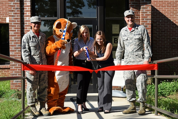 Team Shaw members gather for a 20th Medical Group Health Promotion ribbon-cutting ceremony at Shaw Air Force Base, S.C., June 1, 2018.