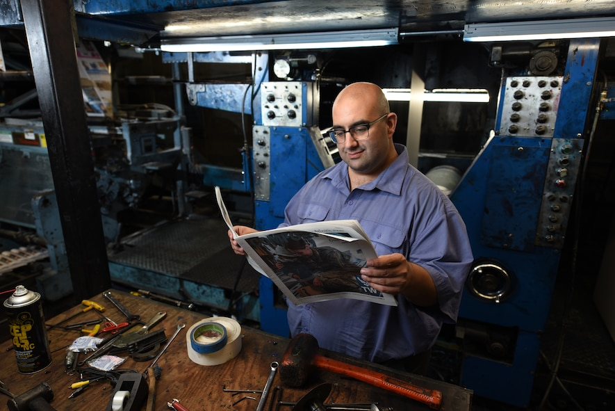 Nick DeCicco, Tailwind editor, poses for a photo May 4, 2018, at the Daily Republic Newspaper Office in Fairfield, Calif. DeCicco works at the Daily Republic, which houses the printing press where the Tailwind is printed. (U.S. Air Force photo by Staff Sgt. Amber Carter/Airman 1st Class Amy Younger)