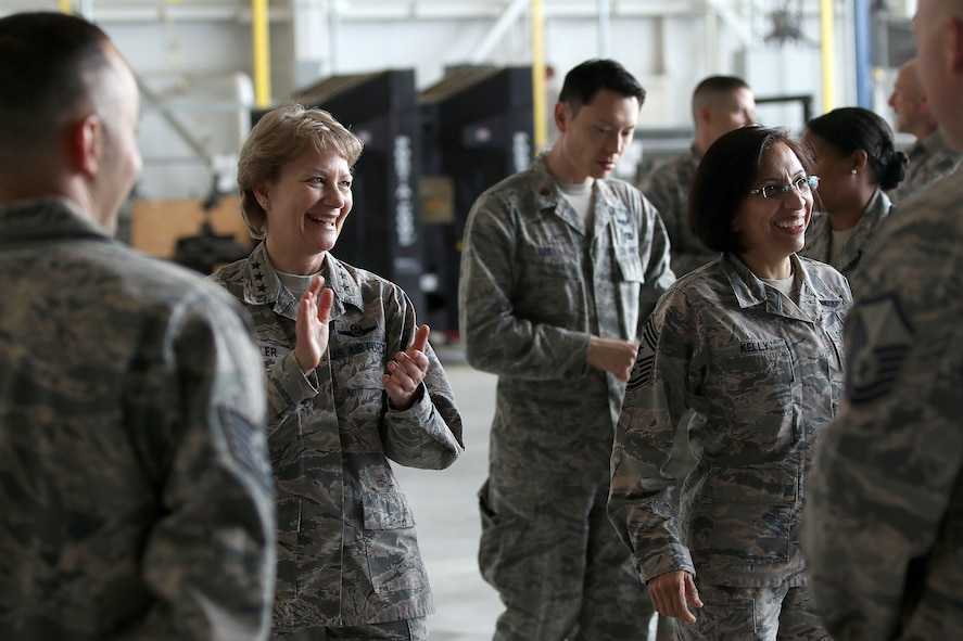 Lt. Gen. Maryanne Miller, Air Force Reserve Command commander and Chief of the Air Force Reserve, and Chief Master Sgt. Ericka Kelly, AFRC command chief, meet Airmen during their visit to the 445th Airlift Wing May 4-6, 2018. The AFRC leaders had breakfast with Airmen at the Pitsenbarger Dining Facility; lunch with group and squadron commanders, chiefs and first sergeants; and toured various 445th AW units.