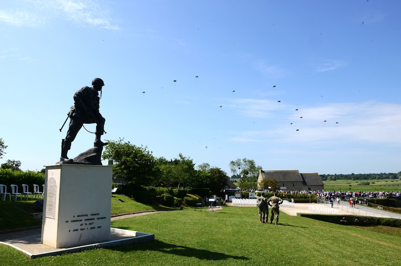 Paratroopers descend upon Sainte-Mère-Église, France, June 3, 2018. The D-Day memorial airdrops involved paratroopers from the U.S. Army and other Allied nations. (U.S. Air Force photo by Senior Airman Joshua Magbanua)