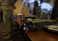A PRC-117G tactical satellite communications radio is displayed during a civic leader tour at Joint Base San Antonio-Lackland, Texas, May 31, 2018. The radio is used to establish voice and data links in deployed or austere environments. The tour was hosted to introduce attendees to 24th Air Force's cyberspace mission and 25th AF's intelligence, surveillance and reconnaissance mission. (U.S. Air Force photo by Tech. Sgt. R.J. Biermann)