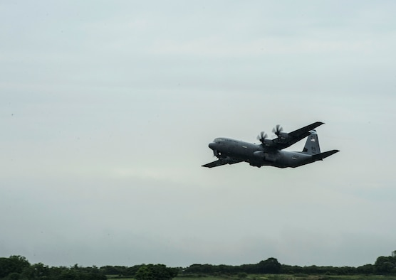 A C-130J Super Hercules assigned to the 37th Airlift Squadron takes off from Cherbourg Airfield, France, May 31, 2018. More than 60 Airmen from Ramstein Air Base, Germany, arrived in the Normandy region to conduct annual exercises commemorating the Battle of Normandy. (U.S. Air Force photo by Senior Airman Joshua Magbanua)