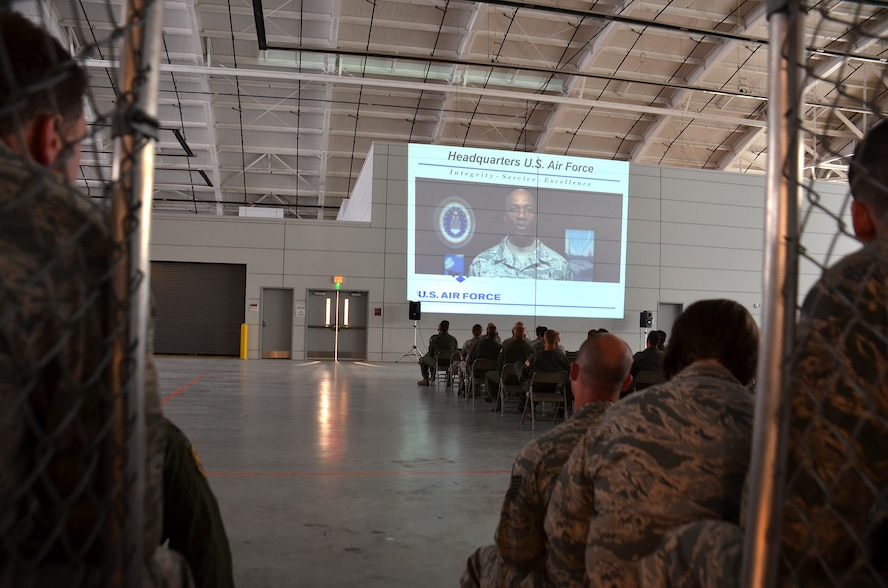 Airmen from the 439th Airlift Wing view a recorded briefing from Chief Master Sgt. of the Air Force, Kaleth O. Wright, during the wing-wide safety review. The safety review, held due to a recent string of Air Force accidents, continued into Monday with the civilian workforce at Westover.