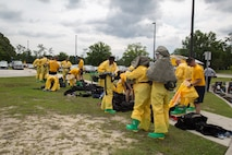 Naval personnel put on protective gear to conduct a decontamination drill at the Naval Medical Center Camp Lejeune, Marine Corps Base Camp Lejeune, May 24, 2018.