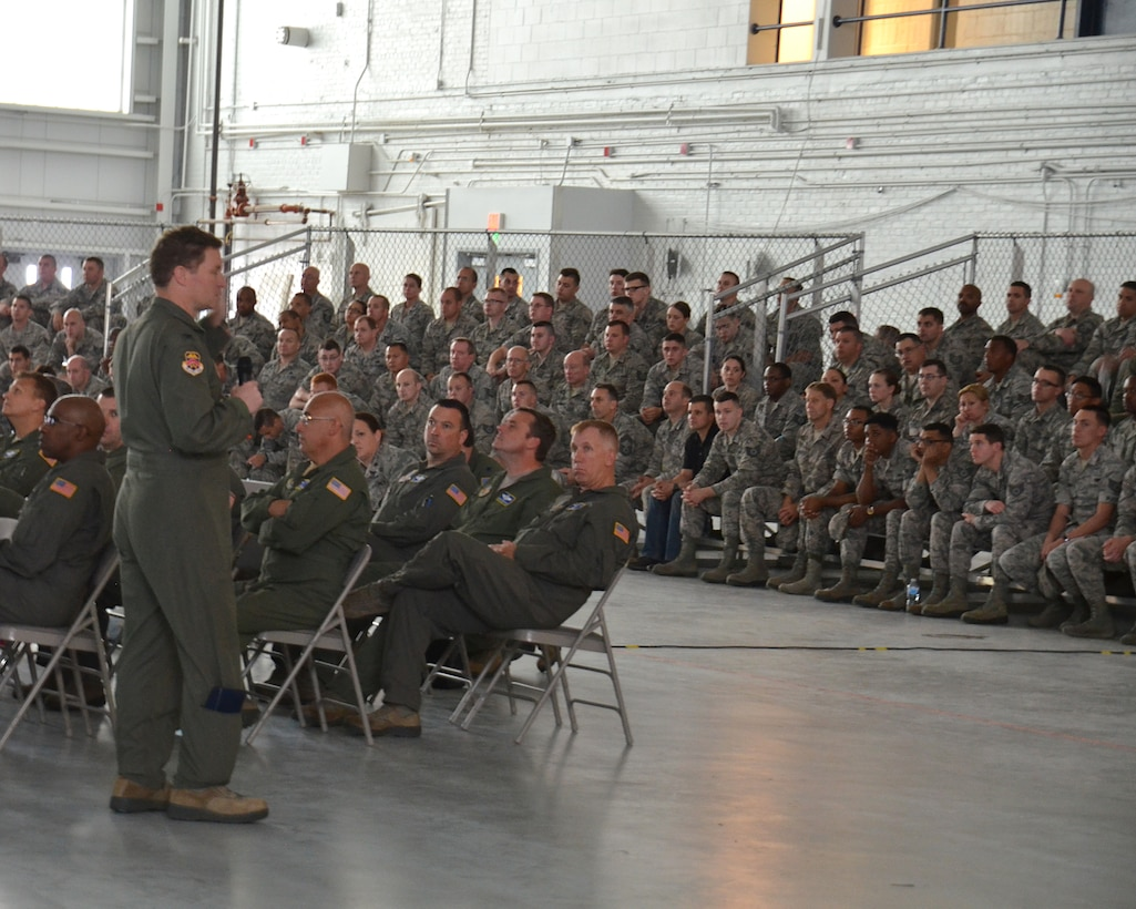 Col. Howard Clark, vice commander of the 439th Airlift Wing, addresses wing airmen during the wing-wide safety review. The safety review, held due to a recent string of Air Force accidents, continued into Monday with the civilian workforce at Westover.