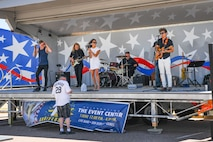 SCHRIEVER AIR FORCE BASE, Colo. – Local live band STYLE performs during the 50th Force Support Squadron 1st anniversary celebration of the event center at Schriever Air Force Base, Colorado, June 1, 2018. Previously home to the 50th Security Forces Squadron headquarters. Base leadership decided to optimize the space to give Airmen a place to host events and renovations began in 2016. (U.S. Air Force photo by Kathryn Calvert)