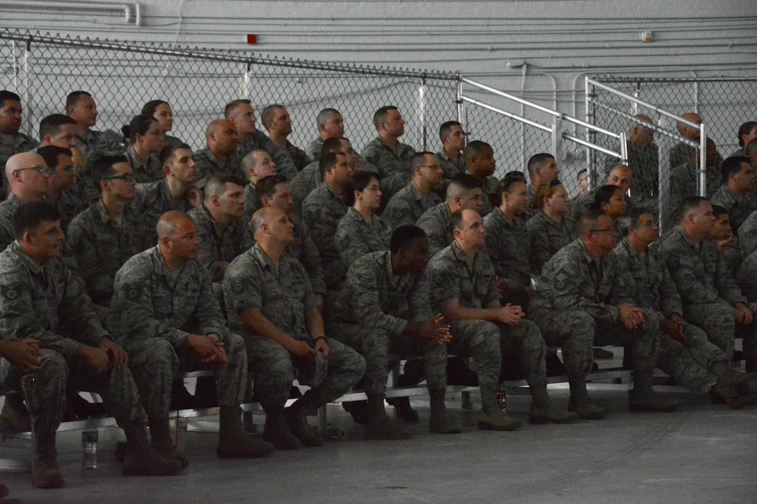 Airmen attend a safety review in the 439th Airlift Wing's base hangar. The safety review, held due to a recent string of Air Force accidents, continued into Monday with the civilian workforce at Westover.