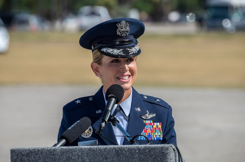 U.S Air Force Brig. Gen. Laura L. Lenderman, the new 502nd ABW and JBSA commander gives remarks during the 502nd Air Base Wing and Joint Base San Antonio change of command ceremony at JBSA-Fort Sam Houston's MacArthur Parade Field June 6, 2018. Lenderman comes to JBSA from Scott Air Force Base, Illinois, where she was Deputy Director-Military, Strategic Plans, Policy and Logistics, U.S. Transportation Command.