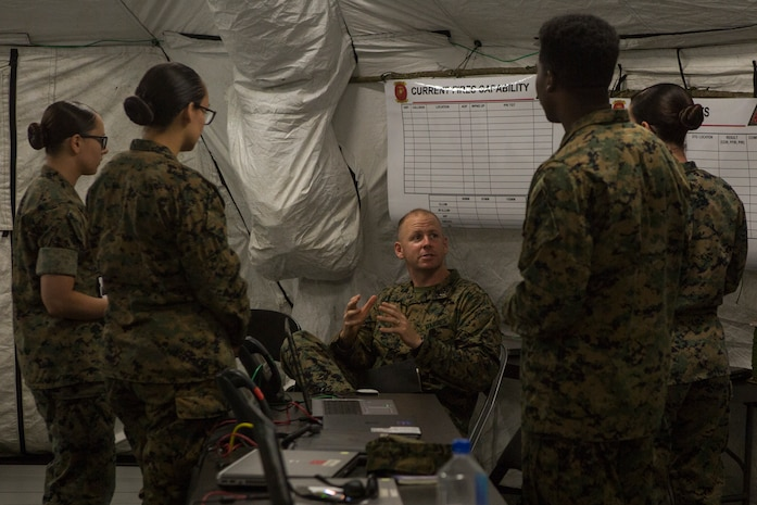 U.S. Marines with 2nd Radio Battalion, II Marine Expeditionary Force Information Group, attend classes during a Command Post Exercise (CPX) at Camp Lejeune, N.C., May 21, 2018. 2nd Radio Battalion conducted the CPX to evaluate and improve their communication capabilities in preparation for an upcoming Mission Rehearsal Exercise. (U.S. Marine Corps photo by Lance Cpl. Tiana Boyd)