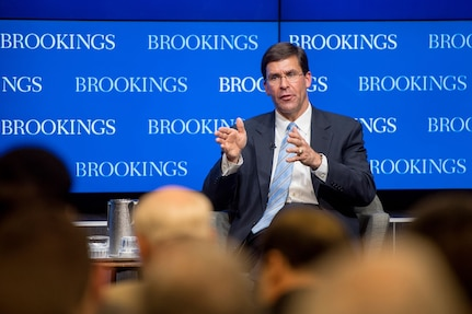 Secretary of the Army Dr. Mark T. Esper lays out the Army Vision at a Brookings Institute event, June 5, 2018.