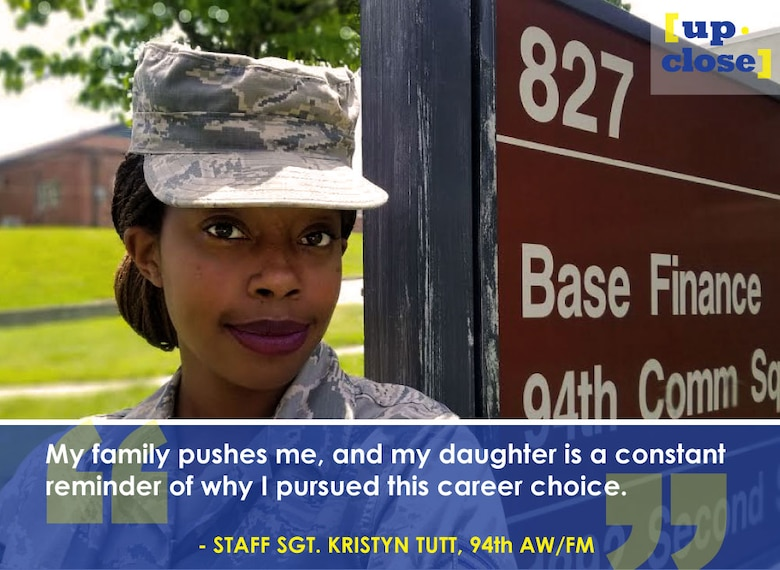 This week's Up Close features Staff Sgt. Kristyn Tutt, 94th Airlift Wing financial management technician. Up Close is a series spotlighting individuals around Dobbins Air Reserve Base. (U.S. Air Force graphic/Staff Sgt. Andrew Park; photo/Senior Airman Lauren Douglas)