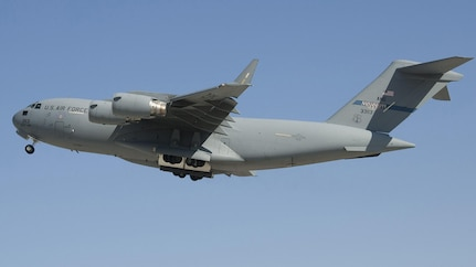 A U.S. Air Force C-17 Globemaster III aircraft is transporting six Guatemalan children injured by the recent eruption of the Fuego Volcano to the United States June 6 to receive medical treatment