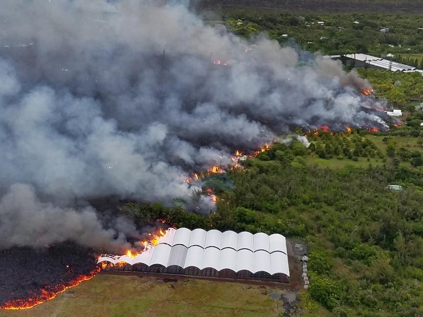 Lava from the Kilauea eruption engulfs a nursery in Kapoho, Hawaii.