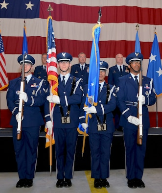 The 72nd Air Base Wing Honor Guard presents the colors during the 507th Air Refueling Wing change of command ceremony June 3, 2018, at Tinker Air Force Base, Okla. Maj. Gen. Randall Ogden, Fourth Air Force commander, gave command of the 507th ARW to Col. Richard Heaslip. (U.S. Air Force photo/Tech. Sgt. Samantha Mathison)