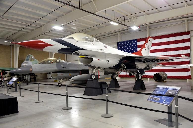 F-16A Thunderbird jet on display at Hill Aerospace Museum