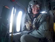 Chief Master Sgt. Lance Jordan flies with Pave Hawk crew for fini flight.