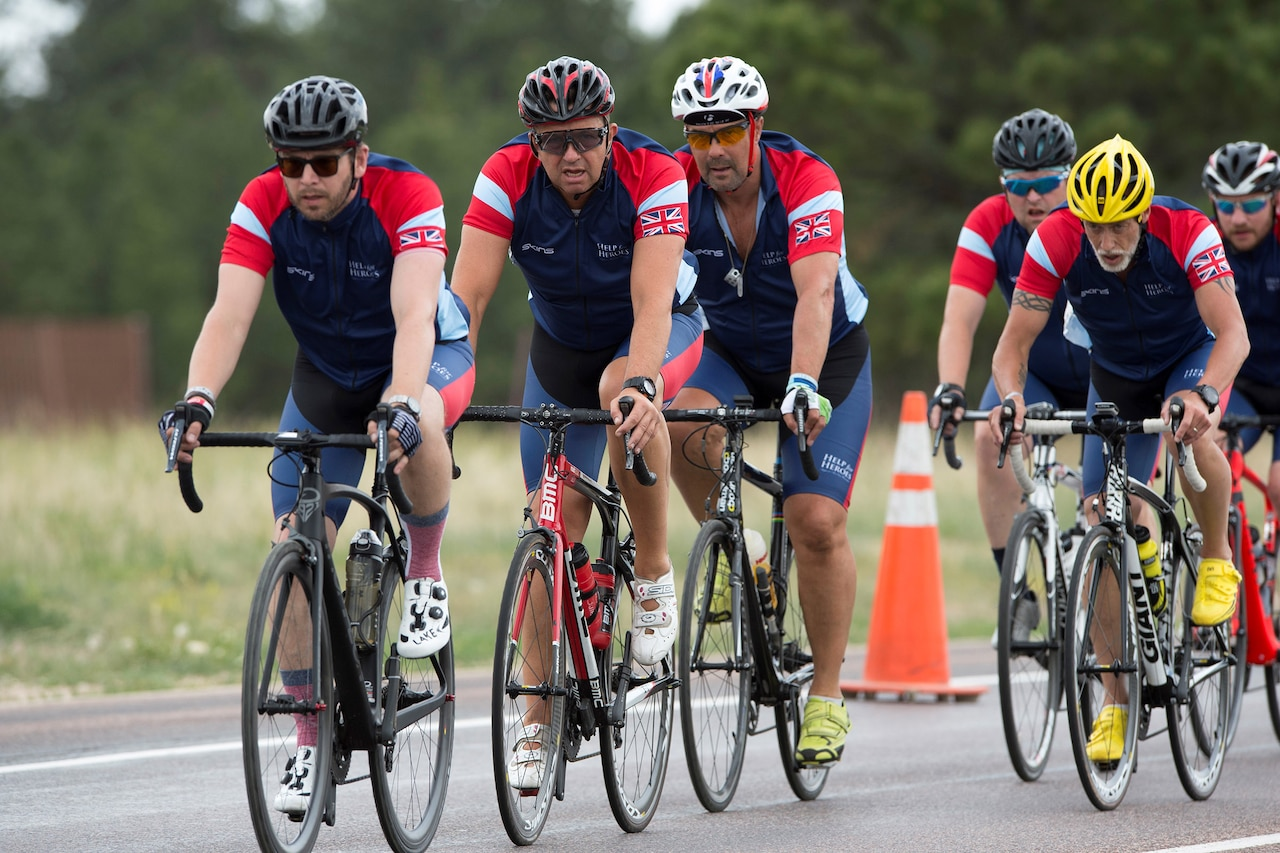 Team United Kingdom cyclists ride together during the 2018 Department of Defense Warrior Games cycling competition at the U.S. Air Force Academy in Colorado Springs, Colo., June 6, 2018. DoD photo by EJ Hersom