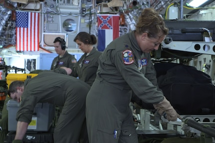 Air Force crew on a C-17 aircraft.