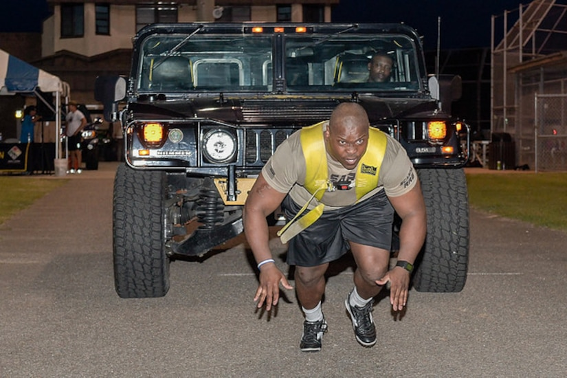 Staff Sgt. Levar Curry competed and won first place overall in the Strong Man/Strong Woman Competition.