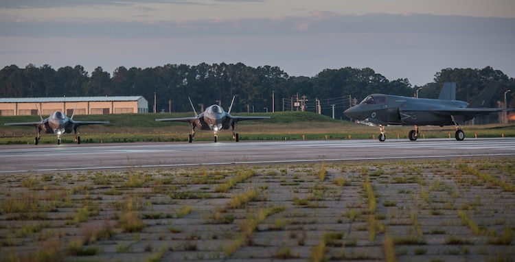 UK F-35B Lightning II prepare to take off from Marine Corps Air Station Beaufort June 6.