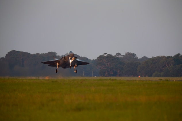 A UK F-35B Lightning II takes off from Marine Corps Air Station Beaufort June 6.