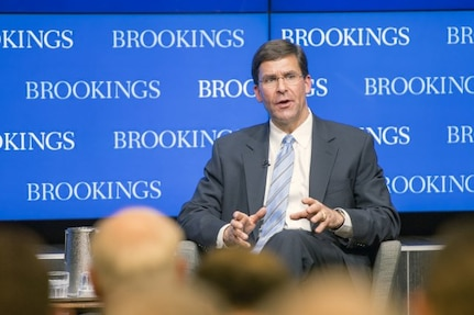 Secretary of the Army Dr. Mark T. Esper outlines the U.S. Army Vision at Brookings Institute, Washington, D.C., June 5, 2018.