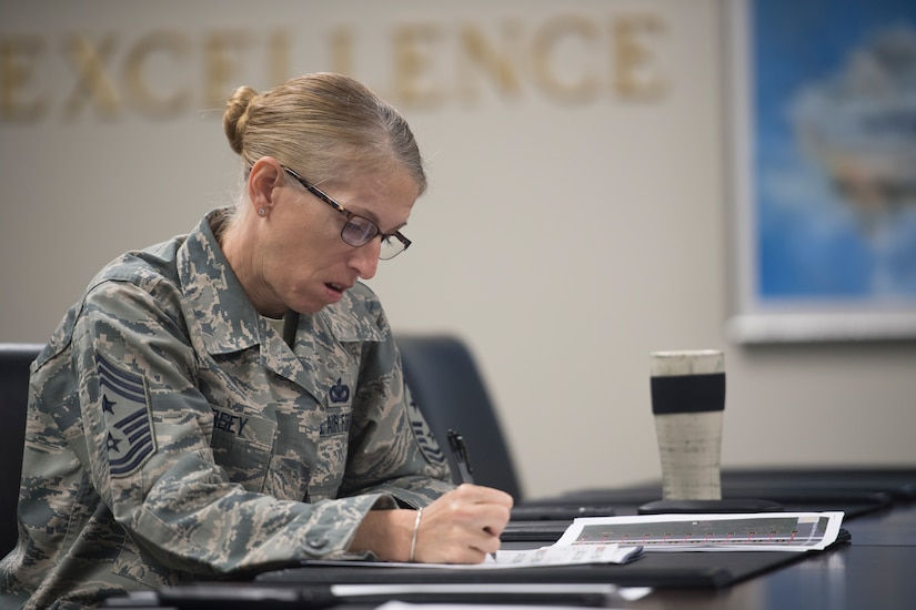 Chief Master Sgt. Jennifer Kersey, right, 437th AW command chief, takes notes during the Squadron Innovation Fund panel meeting June 4, 2018.