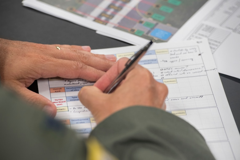 A panelist takes notes during the Squadron Innovation Fund panel meeting June 4, 2018.